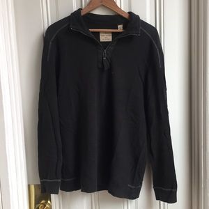 Tommy Bahama Jeans Black Pullover Half Zip Sweater